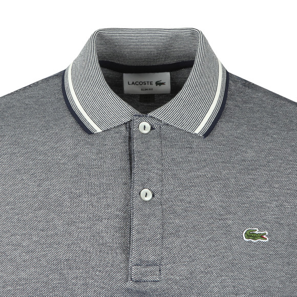 Lacoste Mens Blue S/S PH9433 Tipped Marl Polo main image
