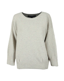 French Connection Womens Grey Ottoman Mozart Speckle Ribbed Jumper