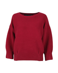 French Connection Womens Red Ribbed Jumper