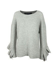French Connection Womens Grey Emilde Knit Frill Jumper