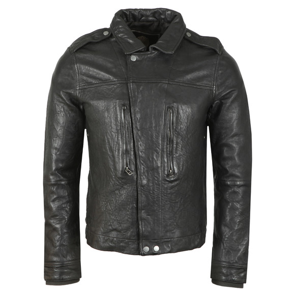Pretty Green Mens Black Zipthrough Leather Biker Jacket
