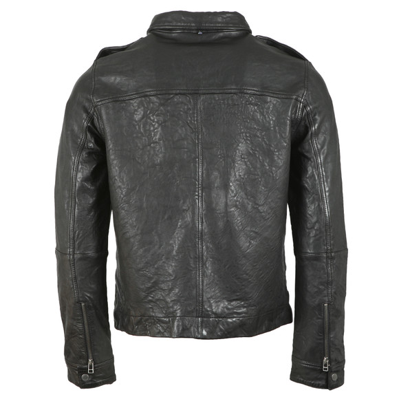 Pretty Green Mens Black Zipthrough Leather Biker Jacket main image
