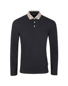 Aquascutum Mens Blue Coniston Long Sleeve Club Check Collar Polo