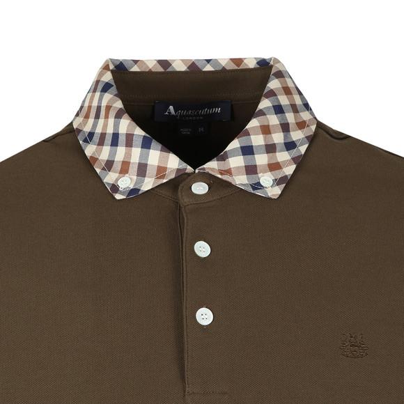 Aquascutum Mens Green Coniston Club Check Collar Polo Shirt main image