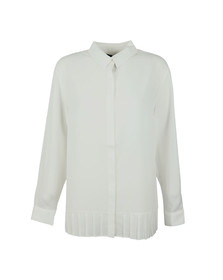 French Connection Womens White Crepe Light Pleat Shirt