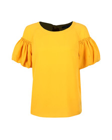 French Connection Womens Yellow Crepe Light Puff Sleeve T-Shirt