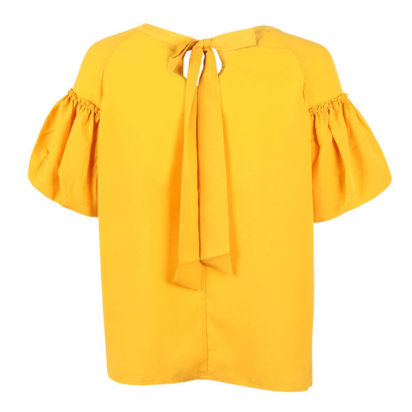 French Connection Womens Yellow Crepe Light Puff Sleeve T-Shirt main image