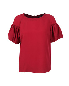 French Connection Womens Red Crepe Light Puff Sleeve T-Shirt