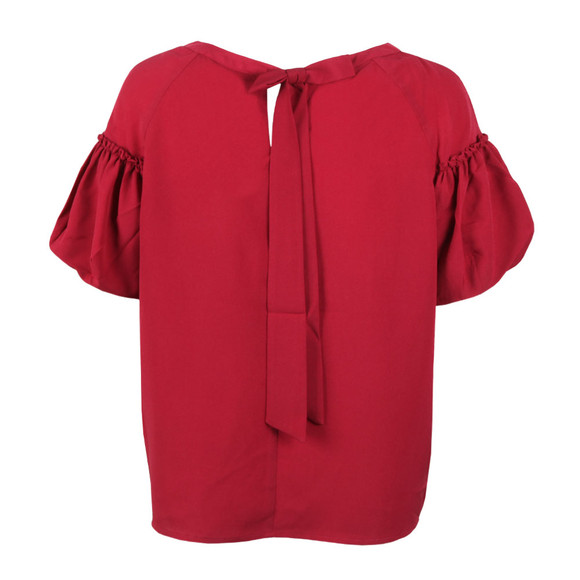 French Connection Womens Red Crepe Light Puff Sleeve T-Shirt main image