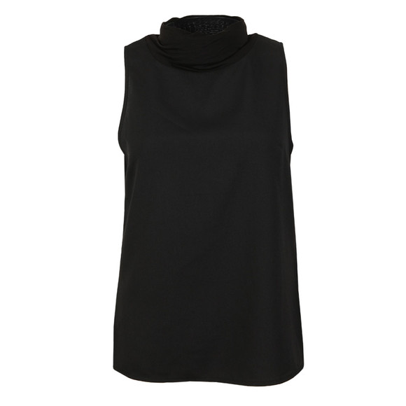 French Connection Womens Black Crepe Mock Neck Cross Top main image