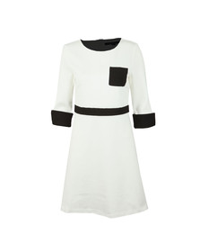 French Connection Womens White Gabrielle Jersey Pocket Dress