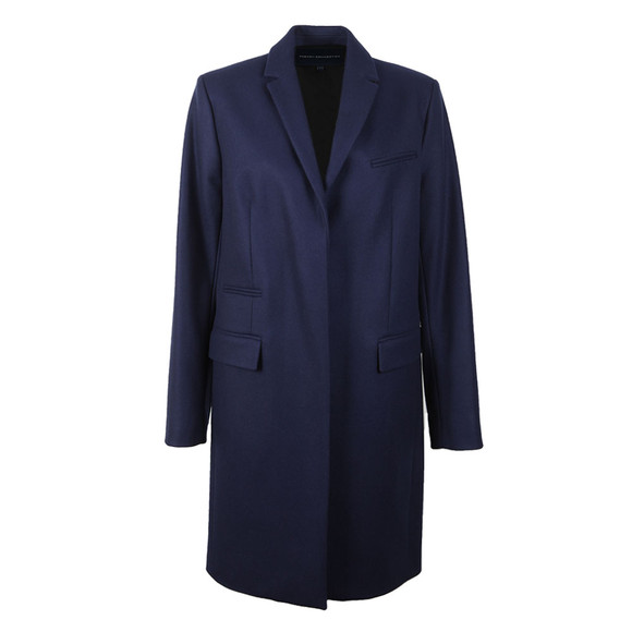French Connection Womens Blue Platform Felt Smart Coat