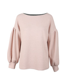 French Connection Womens Pink Ellen Texture Balloon Sleeve Sweat