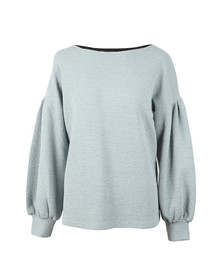 French Connection Womens Blue Ellen Texture Balloon Sleeve Sweat