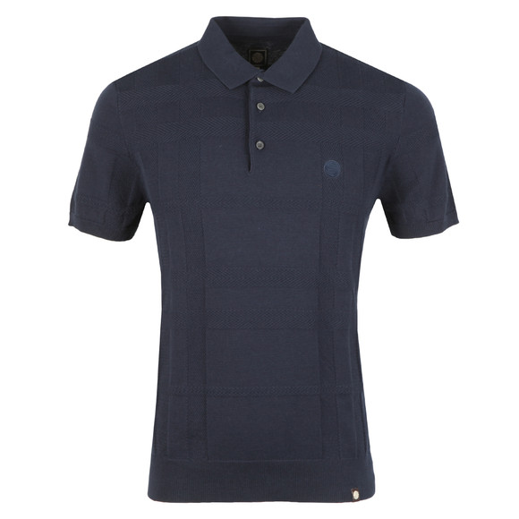 Pretty Green Mens Blue S/S Tonal Jacquard Polo main image