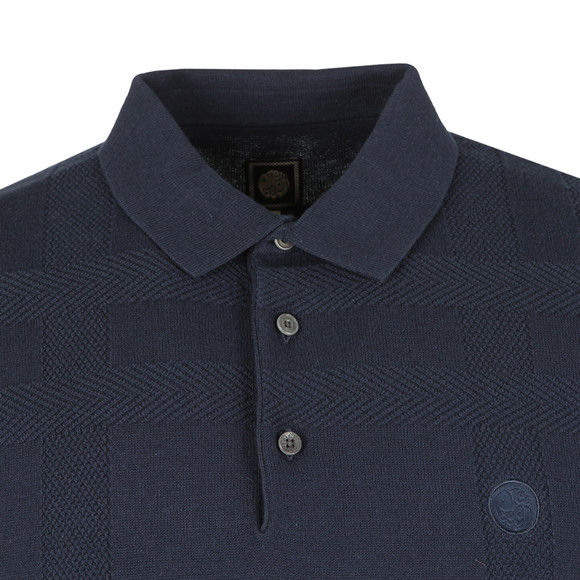 Pretty Green Mens Blue S/S Tonal Jacquard Polo