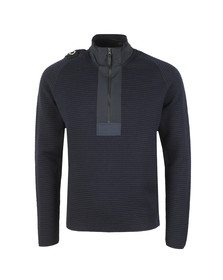 Ma.Strum Mens Blue Merino Quarter Zip
