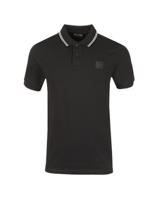 Ma.Strum Mens Black Icon Tipped Pique Polo