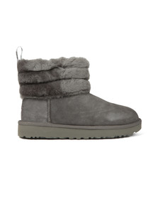 Ugg Womens Grey Fluff Mini Quilted Boot