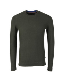 Ted Baker Mens Green PERCYPI Textured Crew Neck Jumper