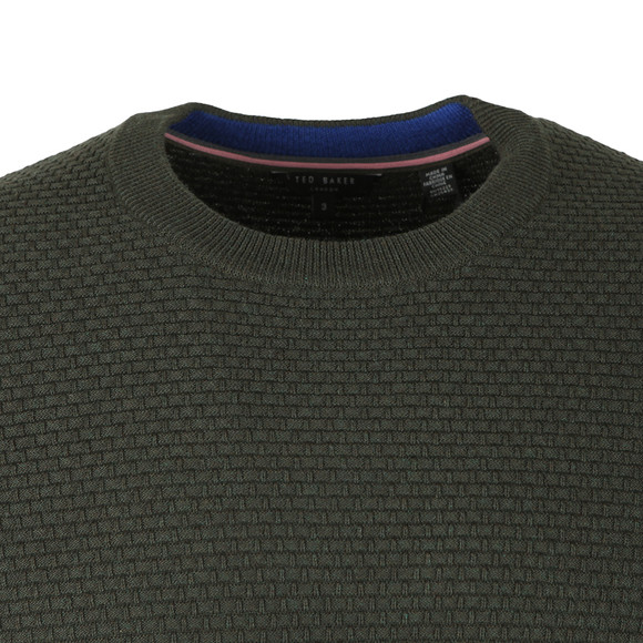 Ted Baker Mens Green PERCYPI Textured Crew Neck Jumper main image