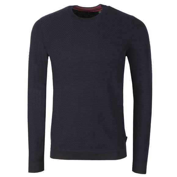Ted Baker Mens Blue PERCYPI Textured Crew Neck Jumper main image