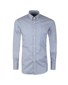 Paul & Shark Mens Blue Shark Logo Micro Check Shirt