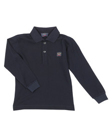 Paul & Shark Cadets Boys Blue Plain Long Sleeve Polo Shirt