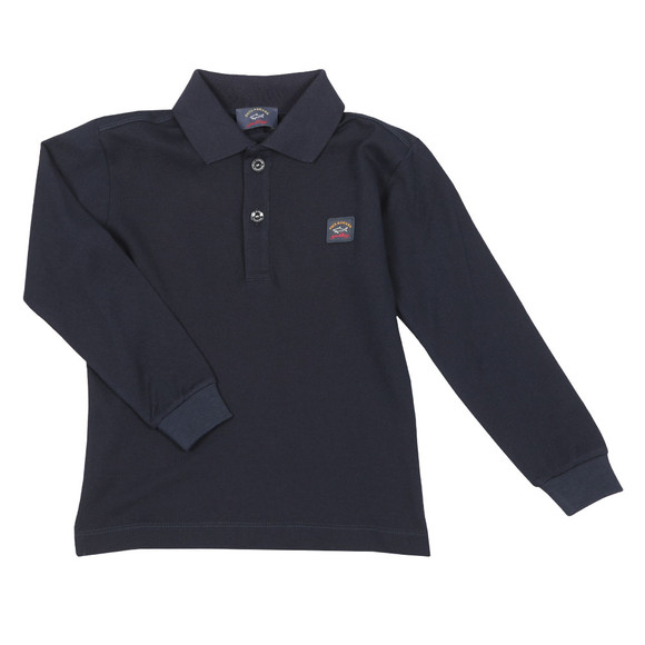 Paul & Shark Cadets Boys Blue Plain Long Sleeve Polo Shirt main image
