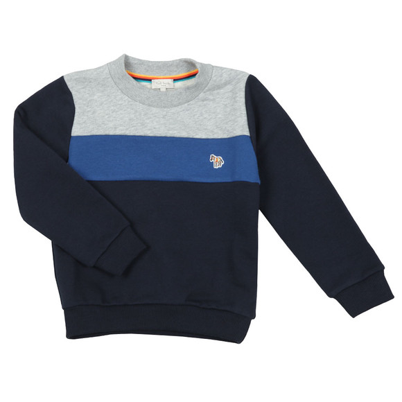 Paul Smith Junior Boys Blue Triple Panel Zebra Sweat main image