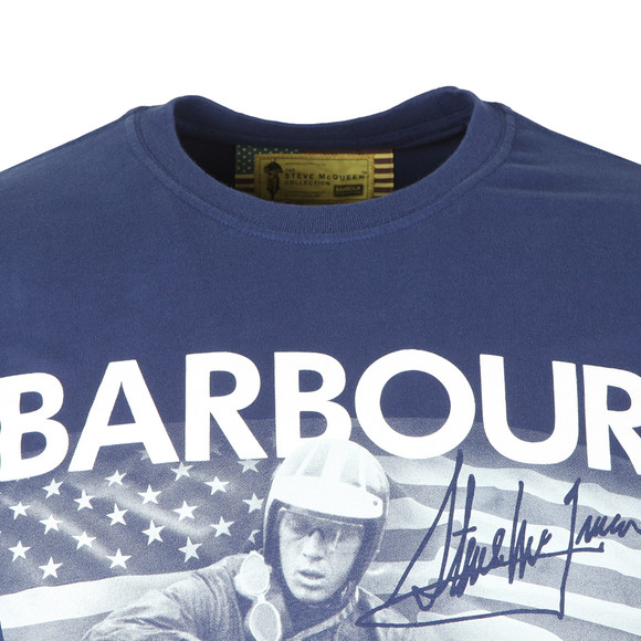 Barbour Int. Steve McQueen Mens Blue Intl Paddock T-Shirt main image