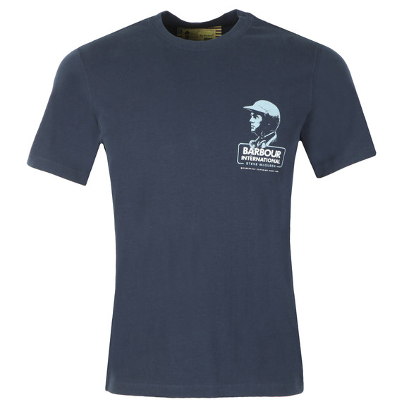 Barbour Int. Steve McQueen Mens Blue Intl Carburettor Tee main image