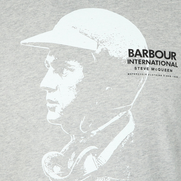 Barbour Int. Steve McQueen Mens Grey Intl Carburettor T-Shirt main image