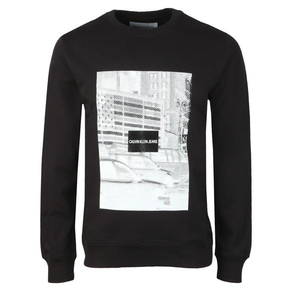 Calvin Klein Jeans Mens Black Pixelated Graphic Sweatshirt main image