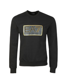 EA7 Emporio Armani Mens Black Large Box Logo Sweatshirt