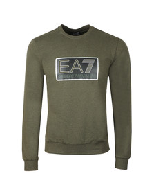 EA7 Emporio Armani Mens Green Large Box Logo Sweatshirt