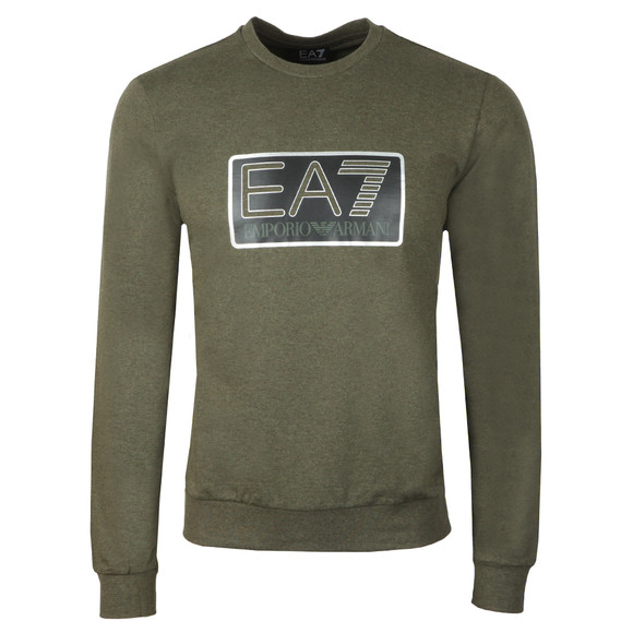 EA7 Emporio Armani Mens Green Large Box Logo Sweatshirt main image