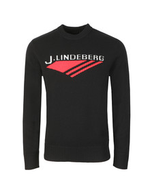 J.Lindeberg Mens Black Virgil Chunky Wool Jumper
