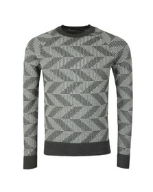 J.Lindeberg Mens Grey Vein Cotton Nylon Chevron Jumper