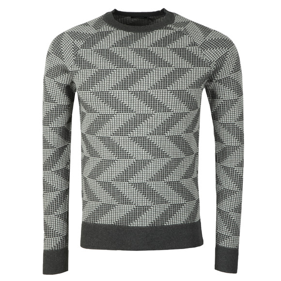 J.Lindeberg Mens Grey Vein Cotton Nylon Chevron Jumper main image