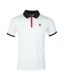 Fila Mens White BB1 Striped Polo