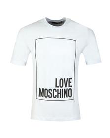 Love Moschino Mens White Box Logo T Shirt