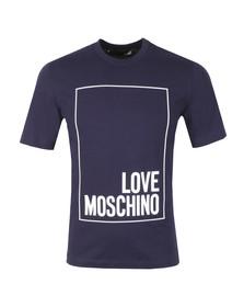 Love Moschino Mens Blue Box Logo T Shirt