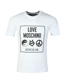 Love Moschino Mens White Box Logo Crew T-Shirt