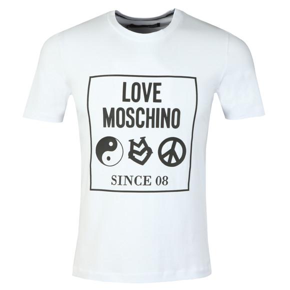 Love Moschino Mens White Box Logo Crew T-Shirt