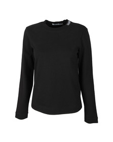 Calvin Klein Jeans Womens Black Embroidered Neck Logo Sweat