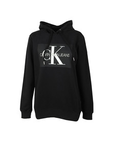 Calvin Klein Jeans Womens Black Monogram Box Relaxed Hoody