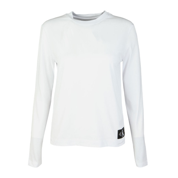 Calvin Klein Jeans Womens White Monogram Logo Long Sleeve Tee main image