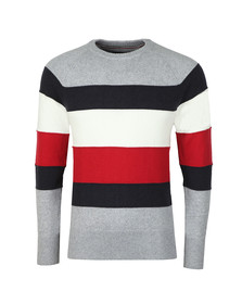 Tommy Hilfiger Mens Grey Colourblock Stripe Jumper