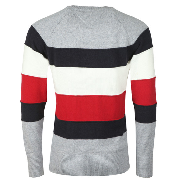 Tommy Hilfiger Mens Grey Colourblock Stripe Jumper main image